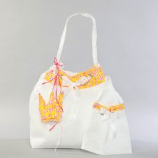 Christening bag from pleated taffeta with crown  / Τσάντα βάπτισης απο πλισέ ταφτά με κορώνα